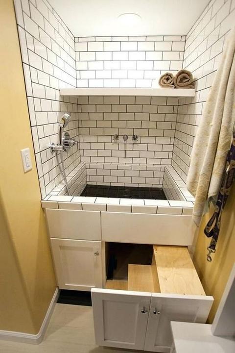 Kényelmes kutyazuhany a mosókonyhában