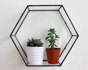 Hatszög alakú fém virágtartó