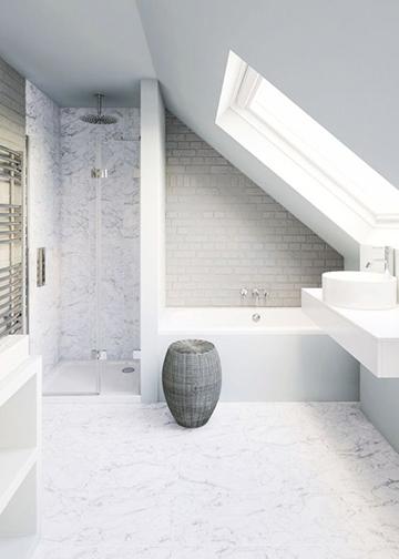 Elegáns tetőtéri fürdőszoba