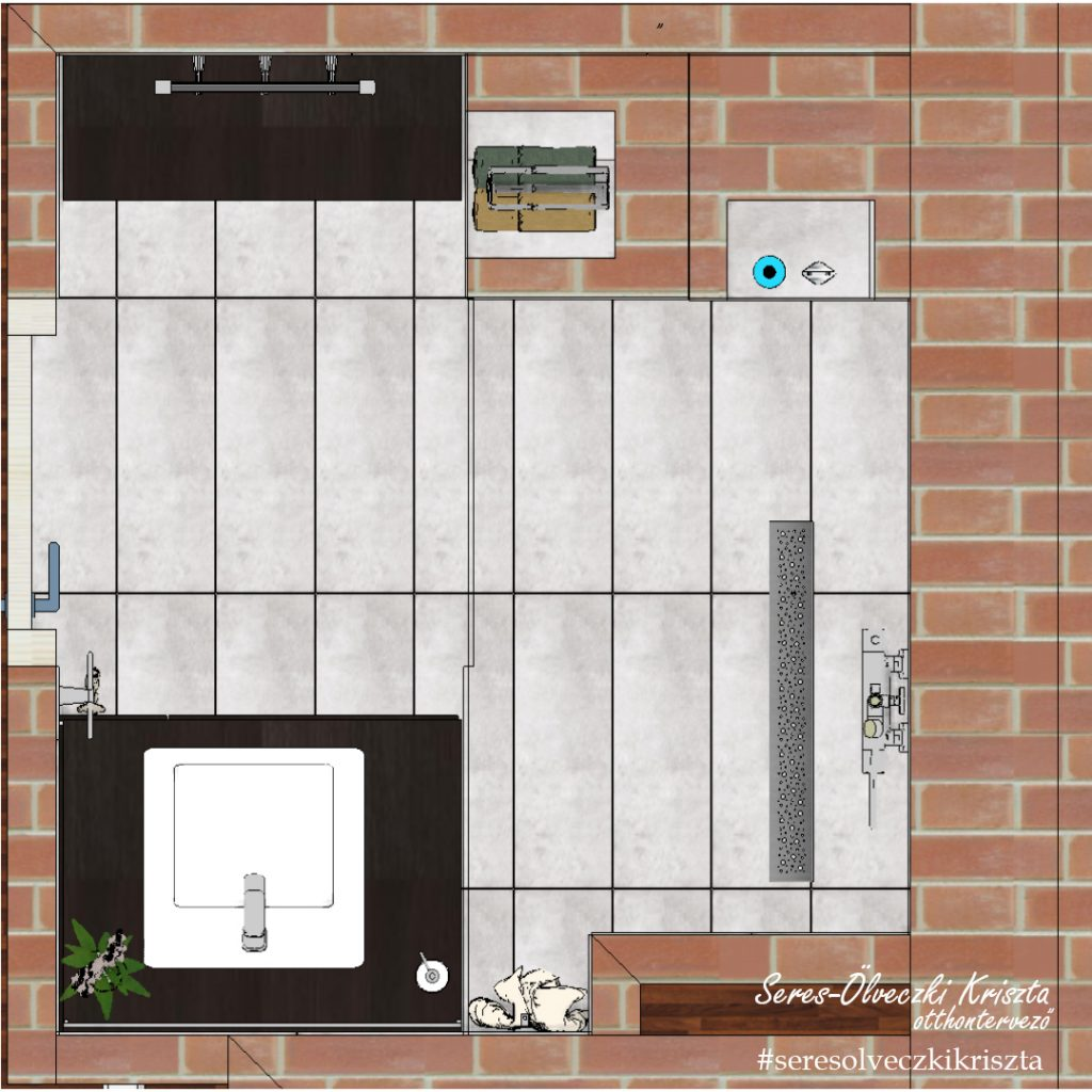 Kis alapterülető fürdőszoba tervezet